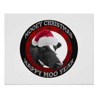 Mooey Christmas Happy Moo Year Santa Hat Cow Poster
