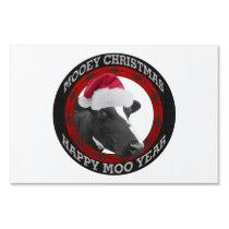 Mooey Christmas Happy Moo Year Santa Hat Cow Sign
