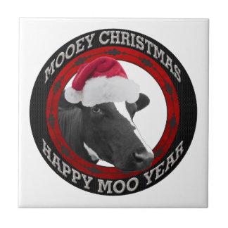Mooey Christmas Happy Moo Year Santa Hat Cow Ceramic Tiles