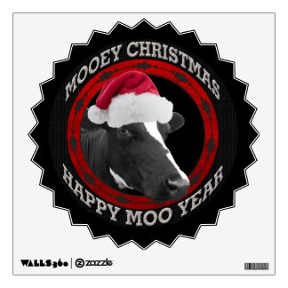 Mooey Christmas Happy Moo Year Santa Hat Cow Wall Sticker