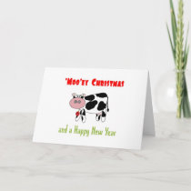 'Moo'ey Christmas Happy New Year Cow Humor Holiday Card