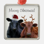Mooey Christmas Holiday Costume Cattle Metal Ornament