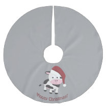 Mooey Christmas! Santa Cow Brushed Polyester Tree Skirt