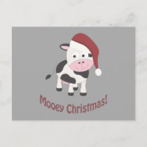 Mooey Christmas! Santa Cow Holiday Postcard
