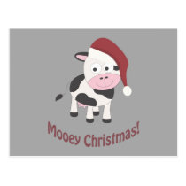 Mooey Christmas! Santa Cow Postcard