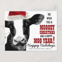 MOOey Christmas Santa Hat Cow Holiday Postcard