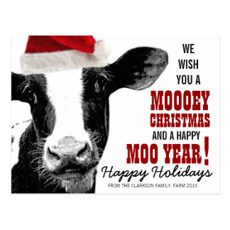 MOOey Christmas Santa Hat Cow Postcard