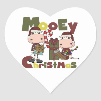 Mooey Christmas Heart Stickers