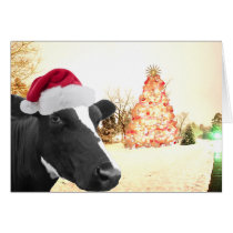 Mooey Christmas Winter Cow In Santa Hat Card