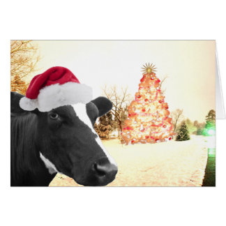 Mooey Christmas Winter Cow In Santa Hat Greeting Card