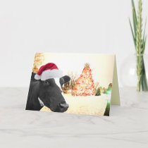 Mooey Christmas Winter Cow In Santa Hat Holiday Card