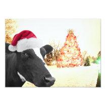 Mooey Christmas Winter Cow In Santa Hat Invitation