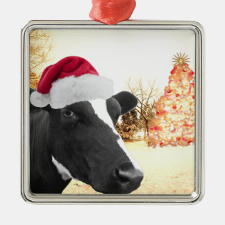 Mooey Christmas Winter Cow In Santa Hat Square Metal Christmas Ornament