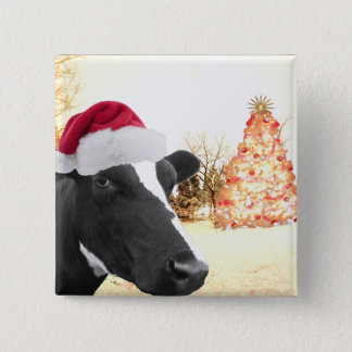 Mooey Christmas Winter Cow In Santa Hat Pinback Button
