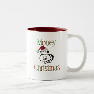 Mooey Cow Christmas Two-Tone Coffee Mug