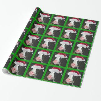Mooey Cow Santa Hat Christmas Gift Wrap Paper