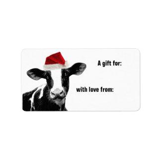Mooey Merry Christmas Cow Santa Hat Label