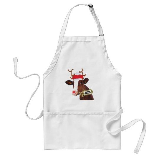 Mooey Merry Christmas Reindeer Cow Adult Apron