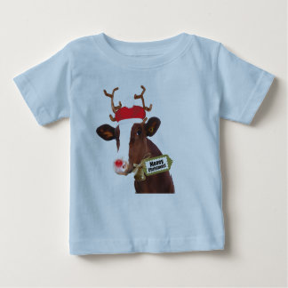 Mooey Merry Christmas Reindeer Cow Baby T-Shirt