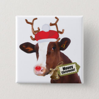 Mooey Merry Christmas Reindeer Cow Button