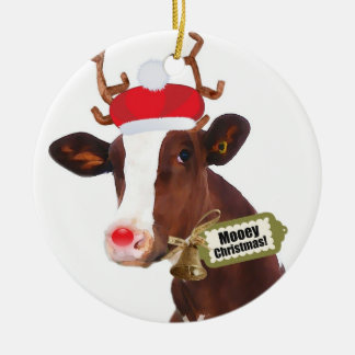 Mooey Merry Christmas Reindeer Cow Ceramic Ornament