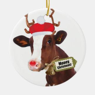 Mooey Merry Christmas Reindeer Cow Ceramic Ornament