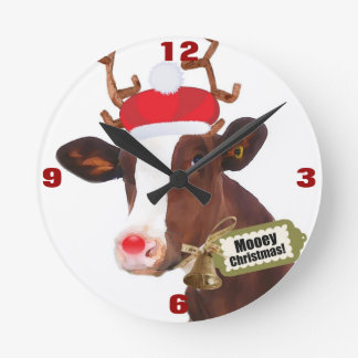 Mooey Merry Christmas Reindeer Cow Round Wall Clocks