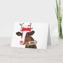 Mooey Merry Christmas Reindeer Cow Holiday Card
