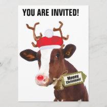 Mooey Merry Christmas Reindeer Cow Invitation