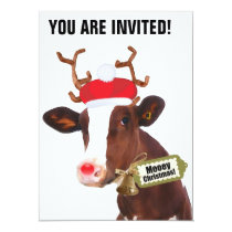 Mooey Merry Christmas Reindeer Cow Invitation