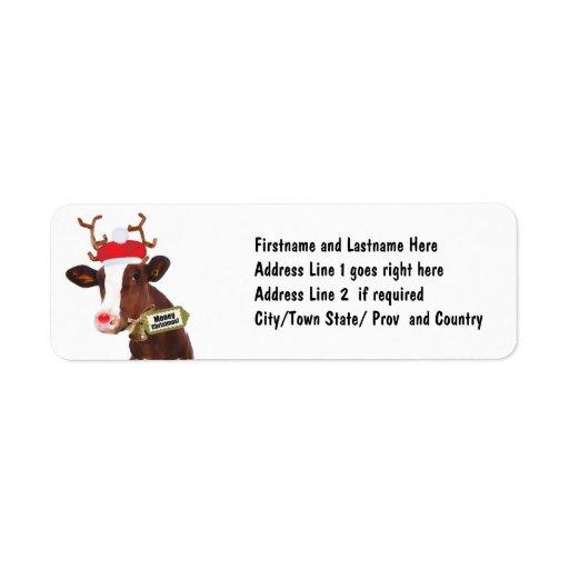 Mooey Merry Christmas Reindeer Cow Return Address Labels