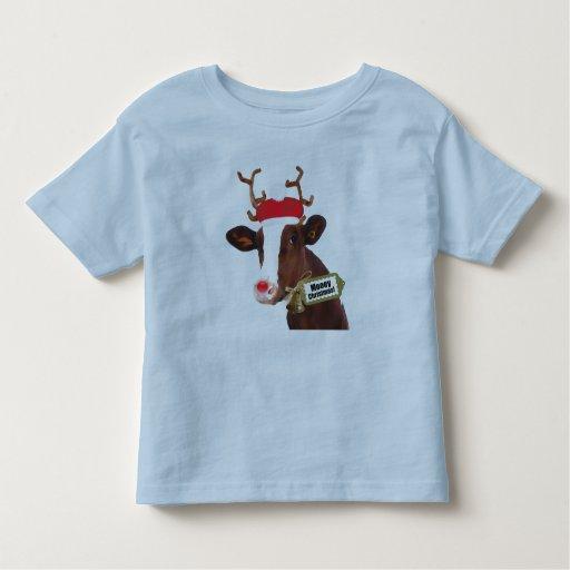 Mooey Merry Christmas Reindeer Cow Tees