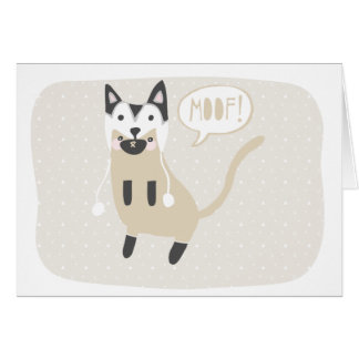 """""""Moof"""" Cat in Husky Wolf Hat Cards"""
