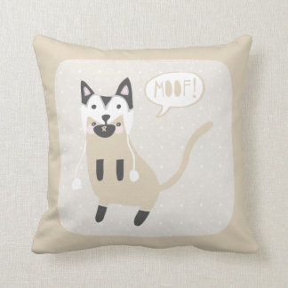 """""""Moof"""" Cat in Husky Wolf Hat Throw Pillow"""