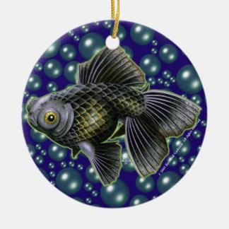Moog que el negro amarra alrededor del ornamento adorno navideño redondo de cerámica