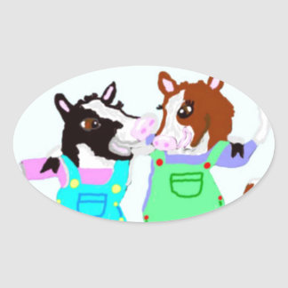 Moohug Designs With Cows Oval Sticker