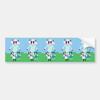 Moohug Designs With Mama Cow And Calves Bumper Sticker