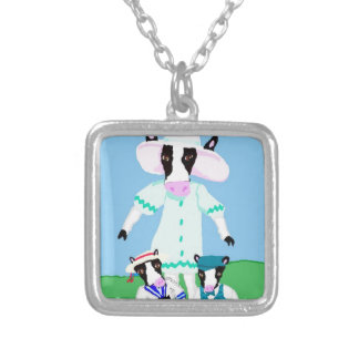Moohug Designs With Mama Cow And Calves Square Pendant Necklace