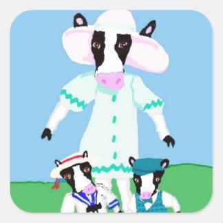 Moohug Designs With Mama Cow And Calves Square Sticker