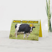 Mooing Cow- MoooChas Thanks In Udder Words Thanks Card