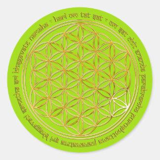 Moola Mantra Blume Des Lebens greenlight BG Runde Sticker