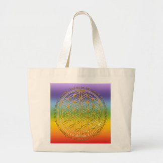 Moola mantra/flower of the life/chakren colour large tote bag