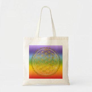Moola mantra/flower of the life/chakren colour tote bag