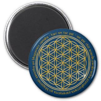 Moola mantra/flower of the life   darkblue refrigerator magnets