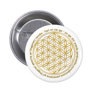 Moola mantra / flower of the life gold pinback button