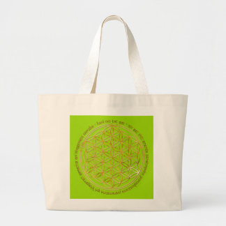 Moola mantra/flower of the life/lightgreen BG Large Tote Bag