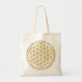 Moola mantra/flower of the life tote bag