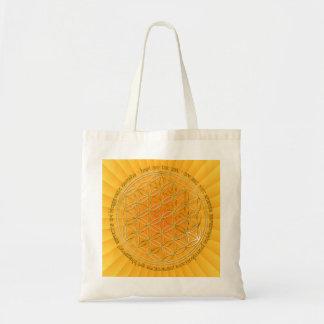 Moola mantra/flower of the life/yellow radially BG Tote Bag