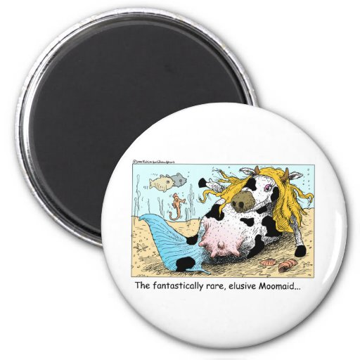 Moomaid Funny Cow Cartoon Gifts Tees Collectibles 2 Inch Round Magnet