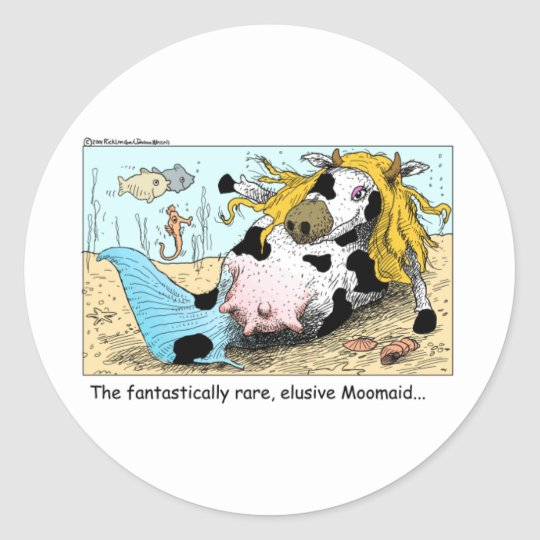 Moomaid Funny Cow Cartoon Gifts Tees Collectibles Classic Round Sticker
